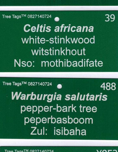 Standard aluminium tree tags